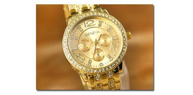PrimaZlavy - Luxusné dámske hodinky GENEVA vykladané zirkónmi a ... d132ef49193